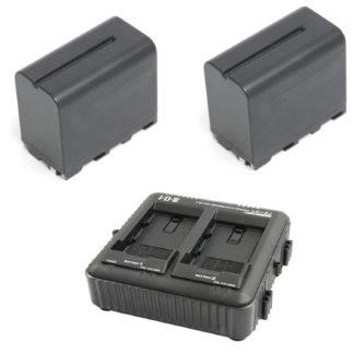 IDX batteri kit med 2 x SL-F70 batteri og 1 x LC-2A lader