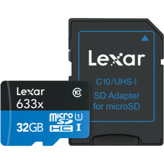 Lexar 32GB High-Performance 633x UHS-I microSDHC Memory Card with SD Adapter